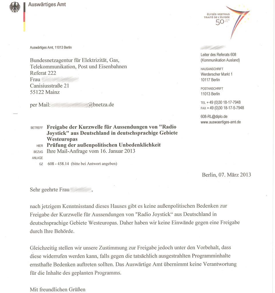 Bundesnetzagentur, Freigabe Radio Joystick